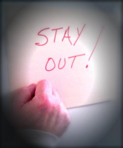 Stay Out sign image